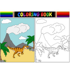 coloring book with tyrannosaurus cartoon vector image