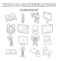 Communication icons set outline ctyle vector image