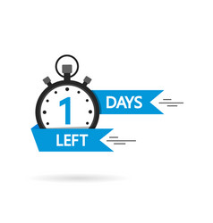 Countdown with left 1 day timer with one day go vector