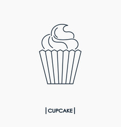 Cupcake outline icon vector