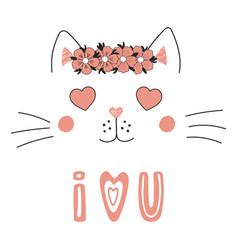 Cute cat with heart shaped eyes vector