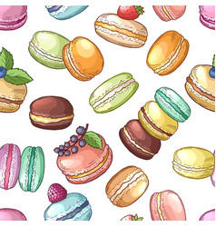 Delicious food of france colored macaroons set vector