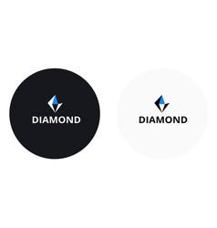 diamond logo black and blue color vector image