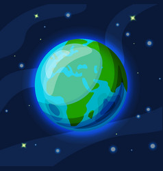 earth cartoon and flat green vector image