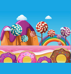 Fantacy land with lollipops and donuts vector