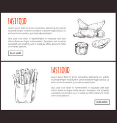 fastfood posters set meal vector image