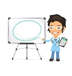 Female Doctor With Marker in Front of the vector image