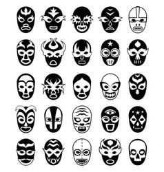 fighters masks mexican lucha libre silhouettes vector image