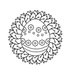 Figure cute easter egg with branches decoration vector