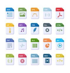 file format - realistic icon set 3d vector image