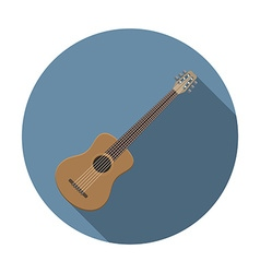 Flat design modern acoustic guitar icon music vector