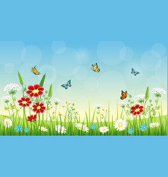 Flower background with butterflies vector