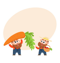 Funny farmer characters harvesting vegetables vector