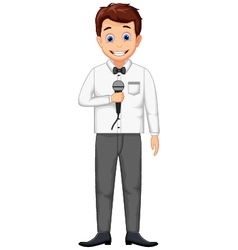 Funny host cartoon holding a microphone vector