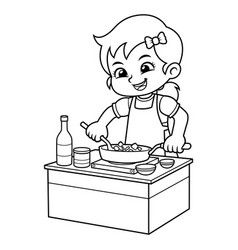 Girl cooking to make delicious food bw vector