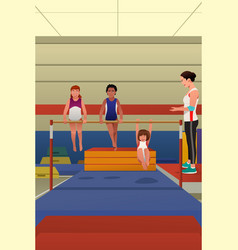 girls hanging on horizontal bar vector image