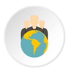 globe and group of people icon circle vector image vector image