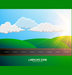 green cartoon landscape with road background vector image