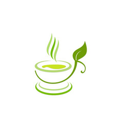 Green tea cup organic diet logo vector