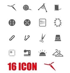 Grey sewing icon set vector