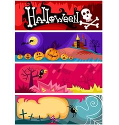 Hallowen card set vector