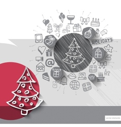 Hand drawn christmas tree icons with icons vector image vector image