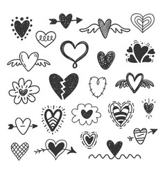 hand drawn hearts doodles set vector image