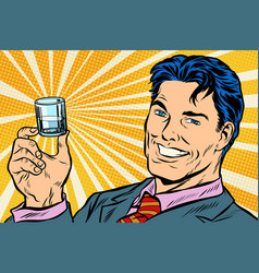 happy man and a vodka shot vector image