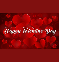 happy valentine card template with red hearts vector image