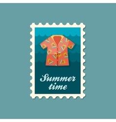 Hawaiian Shirt palm tree stamp Summer Vacation vector