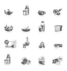 Healthy Eating Black Icons vector image