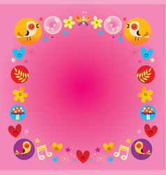 hearts birds flowers mushrooms nature frame vector image