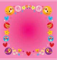 hearts birds flowers mushrooms nature frame vector image