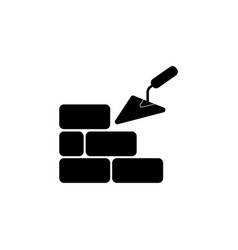 icons brickwork and building trowel black vector image