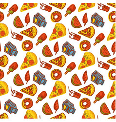 kids organic menu hand drawn seamless pattern vector image