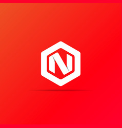 Letter n logo icon in polygon hexagonal shape vector