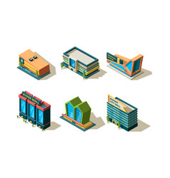 mall isometric big modern buildings shopping vector image