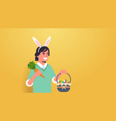 man wearing bunny ears cute guy holding carrot and vector image