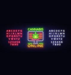 Marijuana medical logo neon cannabis vector