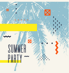 modern poster with palm tree and geometric graphic vector image