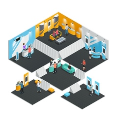 Multistore exhibition stands isometric vector image