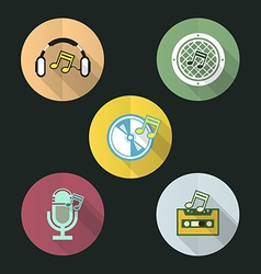 Music flat icon design set vector