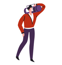 music listening man walking with record player or vector image