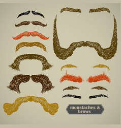 Mustache and eyebrows vector