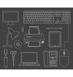 outlined set office devices vector image
