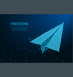 paper airplane made points and lines polygonal vector image