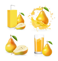 Pears juice realistic set juice splash vector