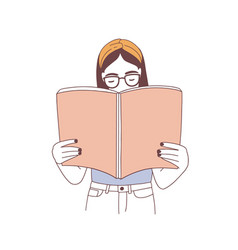 pensive hipster girl in glasses reading book or vector image