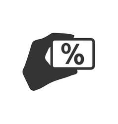 Percentage on hand icon vector
