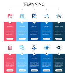 Planning infographic 10 option ui design calendar vector